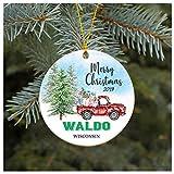 None-brands - Adorno decorativo para árbol de Navidad, diseño de Covid 2020 con texto en inglés 'Waldo Wisconsin WI'