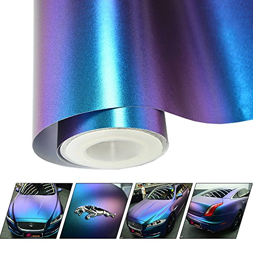 VINYL FROG Chameleon Vinyl Wrap Matte Metallic Vehicle Film Purple to Blue Stretchable Air Release DIY Decals 30cm x 152cm