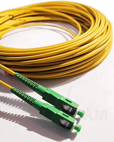 Elfcam Fibra óptica Cable SC/APC a SC/APC monomodo simplex 9/125, Compatible con Orange, Movistar, Vodafone y Jazztel