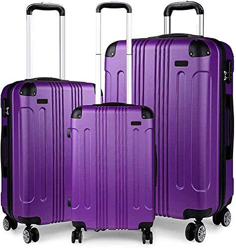Conjunto de maletas de 3 piezas, maleta ABS ligera, 4 Maleta de viaje redonda,Purple