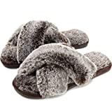 Cozyfurry Women's Fuzzy Slippers Cross Band Soft Plush Cozy House Shoes Furry Open Toe Indoor or Outdoor Slip on Warm Breathable Anti-skid Sole Tip Coffee 9-10