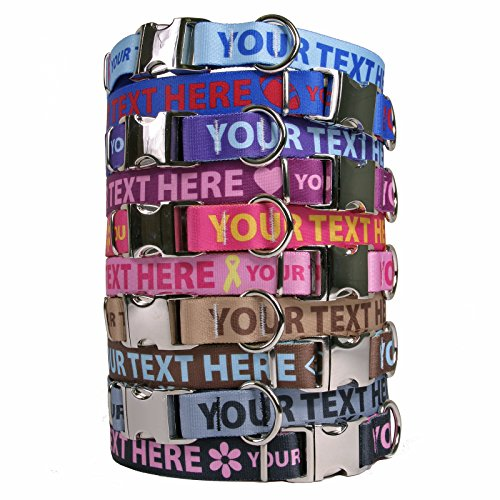 Personalized Premium Dog Collar with Metal Clasp - Available 20 Colors + Multiple Sizes, Horizontal Text Personalization