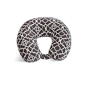 World s Best Feather Soft Microfiber Neck Pillow One Size Charcoal Trellis
