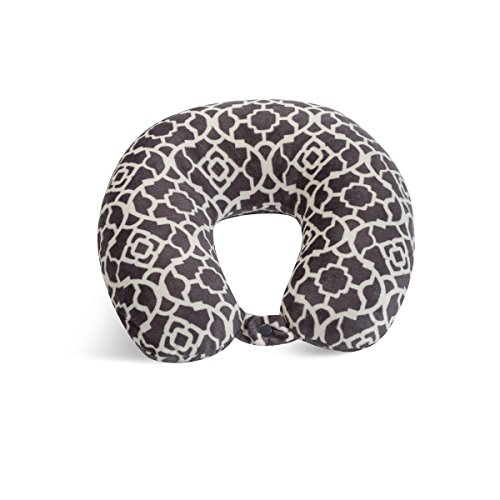 World's Best Feather Soft Microfiber Neck Pillow, Charcoal Trellis