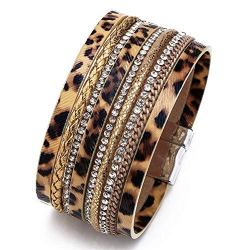 Ingelegd Diamond paardenhaar magneet gesp legering armband Leopard lederen paardenhaar touw ketting Bracel Gift