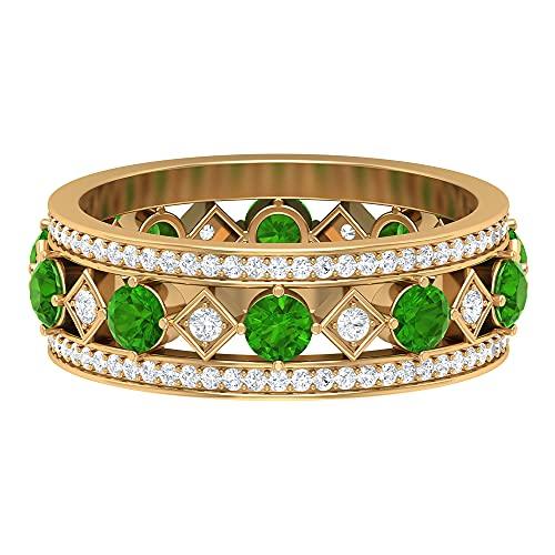 Anillo de aniversario vintage, anillo de boda ancho, 1,2 quilates 3 mm Tsavorite creado en laboratorio, HI-SI 0, 14K Oro amarillo, Size:EU 57