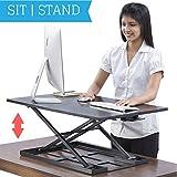 Standing Desk Converter - Standup Ergonomic Height Adjustable Desktop Workstation - 32 X 22 Inch Extra Large Sit Stand Desk Riser for a Dual Monitor Setup - Table Jack