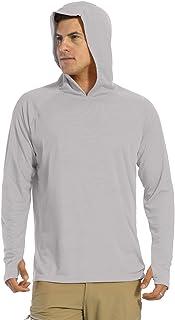 KEFITEVD Men's UV Protection Long Sleeve Hooded T Shirts UPF 50+ Sun Protect Tops Lightweight Outdoor Sports Shirts