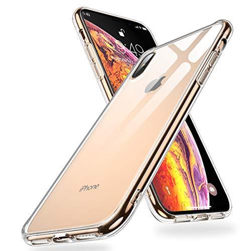 Humixx iPhone XS Max Hülle,Hochwertigem 9H Gehärtetem Anti-Gelb Glas Rückseite mit Soft TPU Weich Rahmen Schutzhülle,Crystal Clear Handyhülle,Anti Kratzer Transparent Hülle für iPhone XS Max - Klar