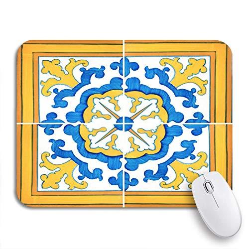 Mausepad Spanische Nahaufnahme Detail Der Alten Portugiesischen Glasierten Fliesen Zusammenfassung Diy 2 Größen Spiel Weich Rutschfeste Gummi Rückseite Bunte Mousepad Langlebige G 25X30cm