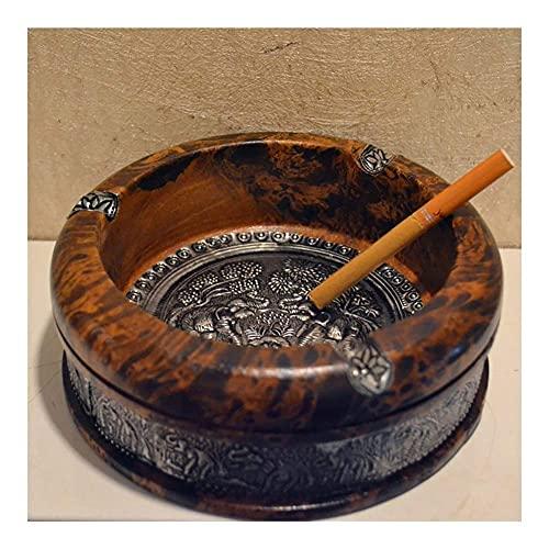 QTQZ Cenicero de cigarros portátil para Interiores o Exteriores, Retro Vintage en Relieve, Resistente al Calor, Duradero, para Oficina en casa, cigarros, Tabaco (Color: 3 Pulgadas)