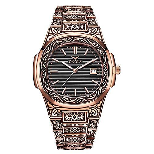 KONGWST Retro Reloj para Hombre Impermeable Steel Belt-I