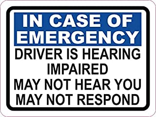 StickerTalk Driver is Hearing Impaired Vinyl Sticker, 3 inches by 2.25 inches