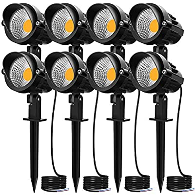 MEIKEE 7W LED Landscape Lights Pathway Lights 12V/24V Spotlights Warm White IP66 Waterproof for Driveway, Yard, Lawn, Patio, Swimming Pool, Outdoor Garden Lights (8 Pack)