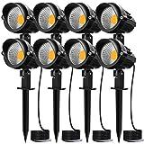 MEIKEE 7W LED Landscape Lights 12V 24V Low Voltage Landscape Lighting Garden Lights IP66 Waterproof Warm White Wall Tree Flag Spotlights with Spike Stand (8 Pack)
