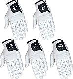 Pack of 5 Men White Cabretta Leather Golf Gloves Regular & Cadet Sizes (Med-Large, Left)