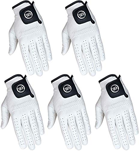 Pack of 5 Men White Cabretta Leather Golf Gloves Regular & Cadet Sizes (Med-Large, Left)
