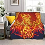 Hello Gorgeous Sherpa Throw Blankets, Fire Phoenix is Reborn Plush Blankets Ultra Soft Warm Sofa Blankets for Men Women Reversible Cozy Bed Covers for Couch Bed Living Room