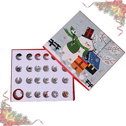 Anyingkai Natale Calendario Avvento,Calendario dell Avvento Beauty,Calendario Natalizio Dell'Avvento con Ciondoli,Natale Calendario Avvento 2020,Calendario Conto alla Rovescia Natale (Rosso Argento)