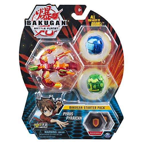 Bakugan Starter Pack 3-Pack, Pyrus Pyravian, Collectible Action Figures, for Ages 6 and Up