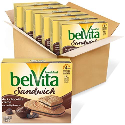 belVita Sandwich Dark Chocolate Creme Breakfast Biscuits, 6 Boxes of 5 Packs (2 Sandwiches Per Pack)