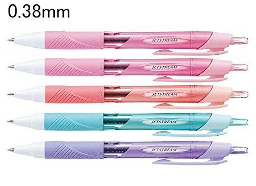 Bolígrafo Uni Ball Jetstream retráctil, de punta fina, con agarre de goma, punta de 0,38 mm, 5 unidades, tinta negro