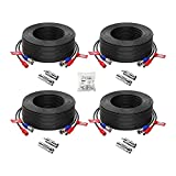 ZOSI 4 Pack 100ft(30M) 4K 8MP 5MP 1080P All-in-One CCTV Video Power Cables, BNC Extension Security Wire Cord for Video Surveillance Camera DVR System With BNC RCA Connector and 100pcs Cable Clips