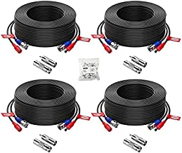 ZOSI 4 Pack 100ft(30M) All-in-One Video Power Cables,BNC Extension Security Camera Cable for CCTV Surveillance Camera DVR System With 4 x BNC&RCA Connector and 100pcs Cable Clips