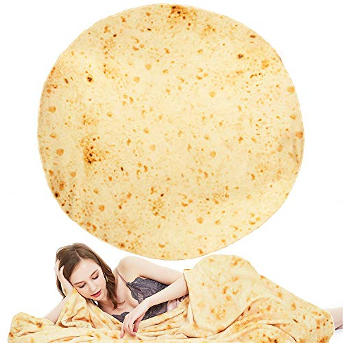 BEAUTLOHAS. Burrito Blanket, Super Soft Tortilla Blanket Made of 250g Flannel, 71 inches Round Throw Blanket for Adult, Kids and Pets, Creative Novelty Mexican Blanket for Bed, Sofa and Travel