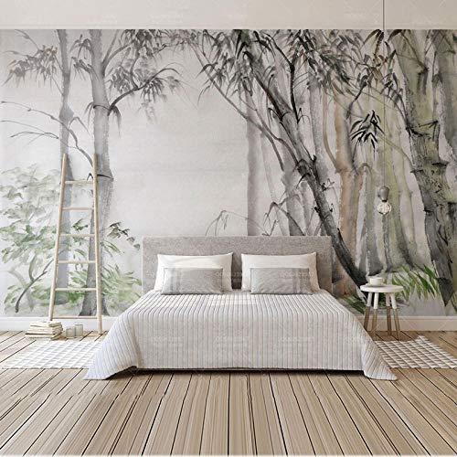 Bamboo Forest Wall Paper Painting Soggiorno Camera Da Letto Home Decor Carte Da Parati Adesivi Murali Carta Da Parati Autoadesiva In Vinile/Seta-150 * 105Cm
