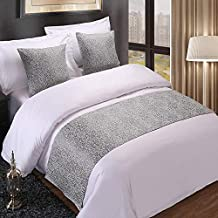 QCQZPL Bed Runner Bedding Hotel Bed Scarf Hotel Bed Flag high-Grade Simple Modern Chinese Luxury Gold Pure White Bed Cover Single Piece, Silver Retro Flower, 50240 (1.8 Bed)