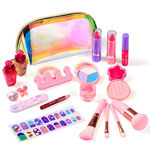 Biulotter Kids Makeup Kit for Girls Real Kids Cosmetics Make Up Set with Cute Cosmetic Bag, Washable Play Makeup for Little Girls