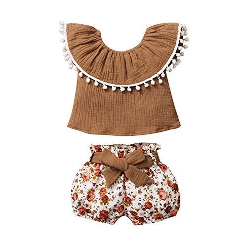 Julhold Bebé niñas sin mangas borlas estampado floral tops + lazo nudo pantalones cortos trajes