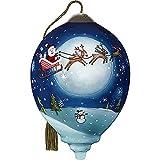 Precious Moments Santa and Sleigh Flying Across Moon Ornament, Multi