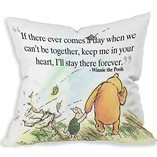 Cartoon Cute Love Winnie l'Ourson Citation décoratif taie d'oreiller d'un côté (16 x 16)