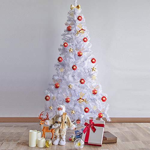 Kranich - Árbol de Navidad artificial de 1,8 m, color blanco