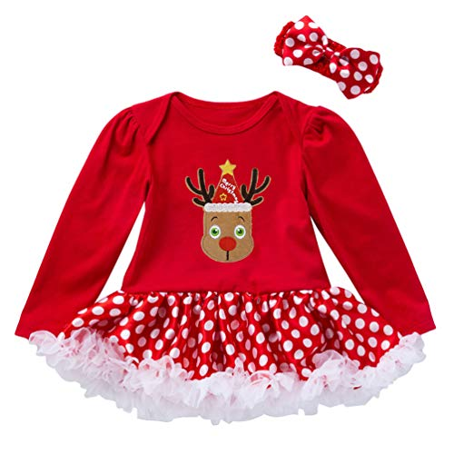 Ketamyy Conjuntos Bebe Niña Navidad Impresión Body Manga Larga Vestido+Venda de Pelo...