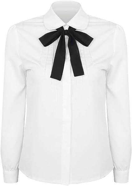 TiaoBug Blusa Blanca de Manga Larga Mujer Camisa Básica con ...