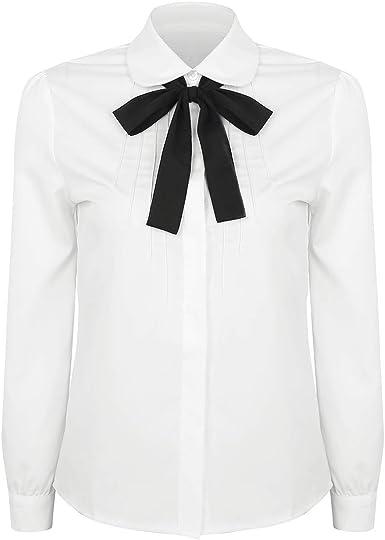 Freebily Blusa Blanca de Manga Larga Mujer Camisa Básica con ...