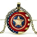DGP Capitán América Cristal Colgante Collar Escudo Colgante