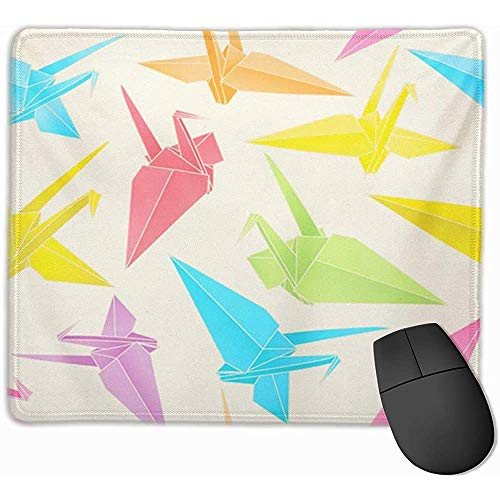 Gaming Mouse Pad, Mouse Mat Beige Origami of Japanese Crane out Coloured Blue Japan China China Luck Bird Color Culture