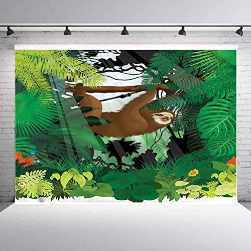 5x5FT Vinyl Photo Backdrops,Sloth,Vibrant Rainforest Plants Background Newborn Birthday Party Banner Photo Shoot Booth