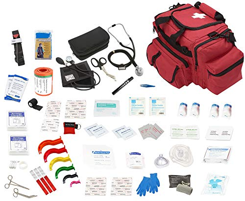 ASATECHMED Fully Stocked Large EMT First Aid Trauma Bag EMS Kit w/Emergency Medical Supplies, First Responder Kit, Natural Disasters