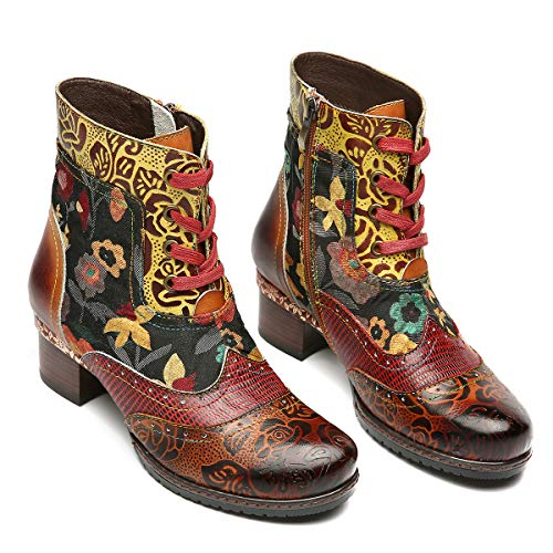 gracosy Ankle Boots Women Flat Leather Boots New Printing Retro Plant Bohemian Handmade Pattern Lace Up Low Block Heel Winter Autumn Side Zipper Shoes Lady Outdoor Round Toe Walking Brown 6.5 UK steampunk buy now online
