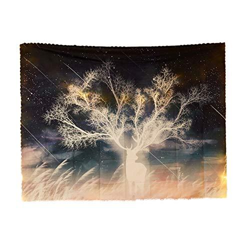 XPT Tapiz para colgar en la pared, diseño de nubes de montaña y árbol, para dormitorio, decoración de fondo, 2 # 150 x 200 cm