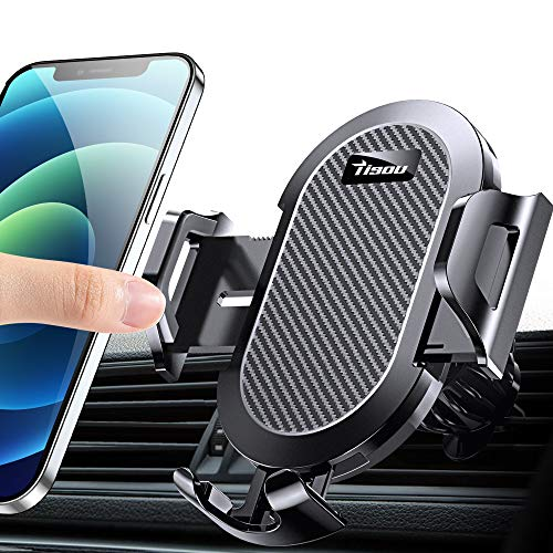 TISOU Car Phone Holder Mount, Metal Air Vent Clip Cell Phone Holder for Car, Phone Car Mount Cradle Compatible with iPhone 12 11 Pro Max SE XS XR 8 Plus Galaxy S20 Note 20 Ultra, 4-7inch Smartphones