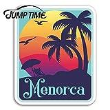 Sticker de carro Tiempo de salto para menorca pegatinas de vinilo españa viaje divertido pegatina portátil calcomanía de equipaje ventana tanque impermeable impermeable decoración del cocheestilo A