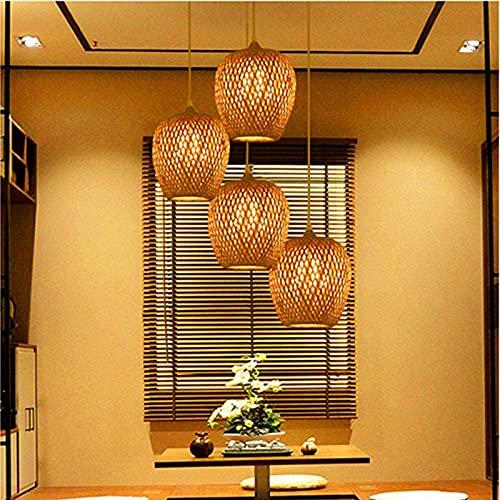 N\C Retro Linterna de bambú Lámpara Colgante Ratán de Mimbre Lámpara de Lámpara de Lámpara de Lámpara de Techo Cuarto de Techo Bambú Lámpara Bar Cafetería Club Mano Lámpara Colgante E27
