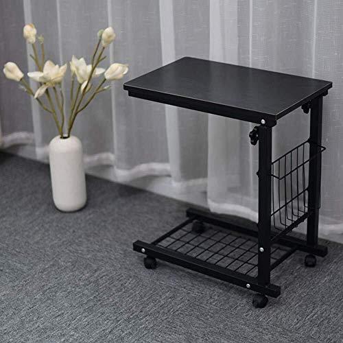 SWNN-Klapptisch Einstellbare Sofa Seiten mobilen Tisch mit Rollen Storage C Shaped Tisch for Wohnzimmer Laptop Kaffee Snack Kleine Abstellplätze (Schwarz)