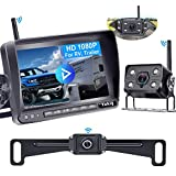 Wireless Backup Camera for RV HD 1080P,7 Inch DVR Monitor with Car/Truck Camera+RV Camera for Trailers,Motorhome 5th Wheel Infrared 2 Rear View Camera System with Adapter for Pre-wired RV Yakry Y33